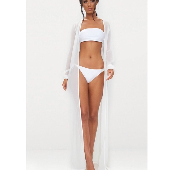 Prettylittlething Swim Pretty Little Thing Plt White Cover Up Kimono Poshmark